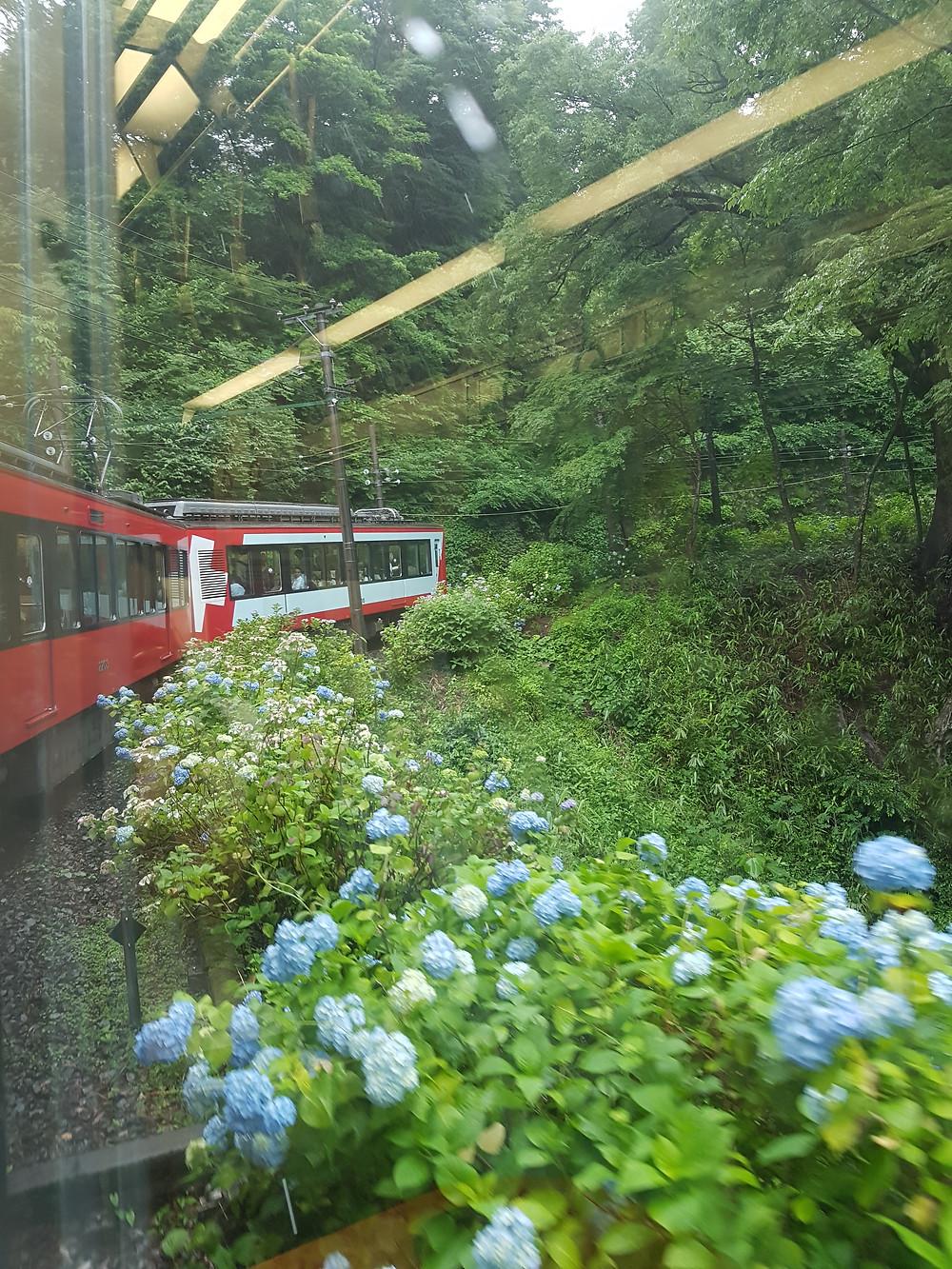 Bahn von Hakone-Yumoto nach Gora