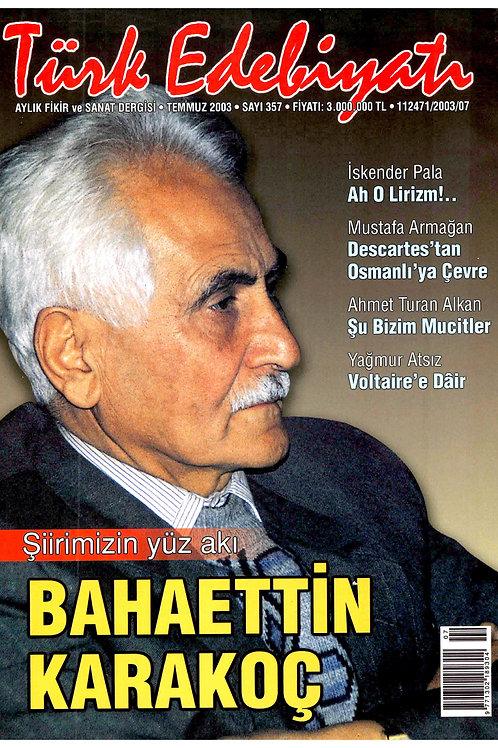 Türk Edebiyatı Dergisi 357. Sayı