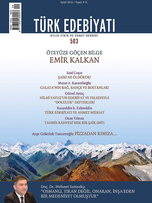 Türk Edebiyatı Dergisi 503. Sayı