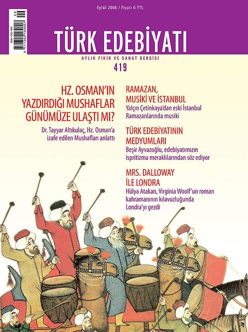 Türk Edebiyatı Dergisi 419. Sayı