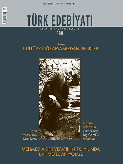 Türk Edebiyatı Dergisi 398. Sayı