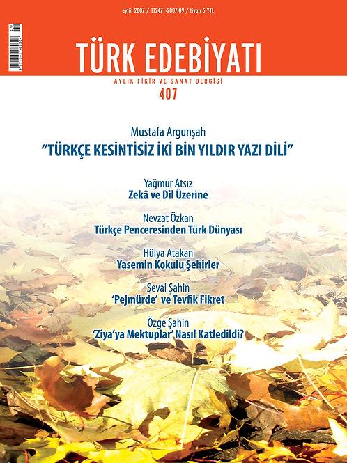 Türk Edebiyatı Dergisi 407. Sayı