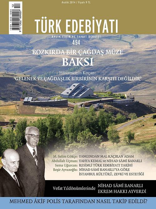 Türk Edebiyatı Dergisi 494. Sayı