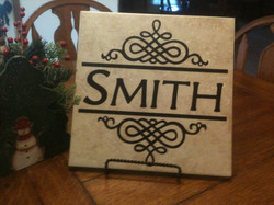 12x12 Last Name with embellishments