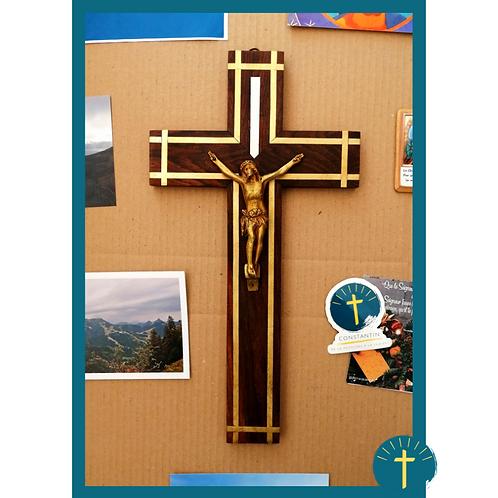 Christ lumineux - bois peint/métal doré