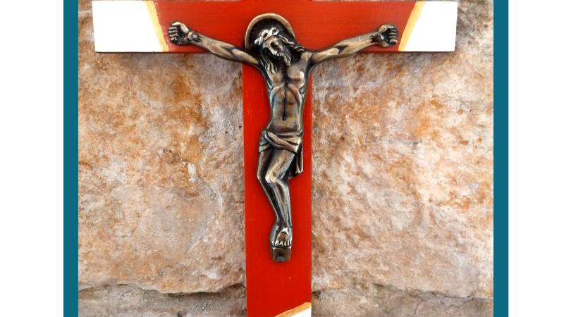 Christ de la Passion - Bois peint / Métal argenté