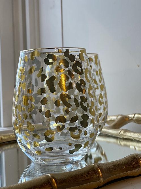 Cheetah Wine Glass