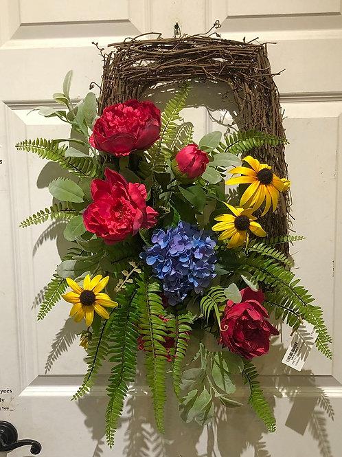 Peony rectangular wreath