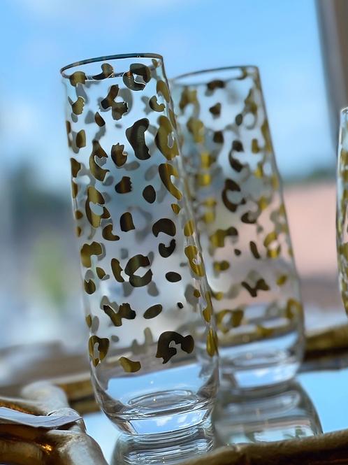 Cheetah Champagne Glass