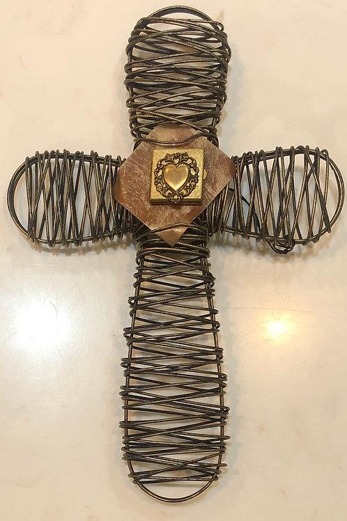 Wire Cross with Heart Prayer Box
