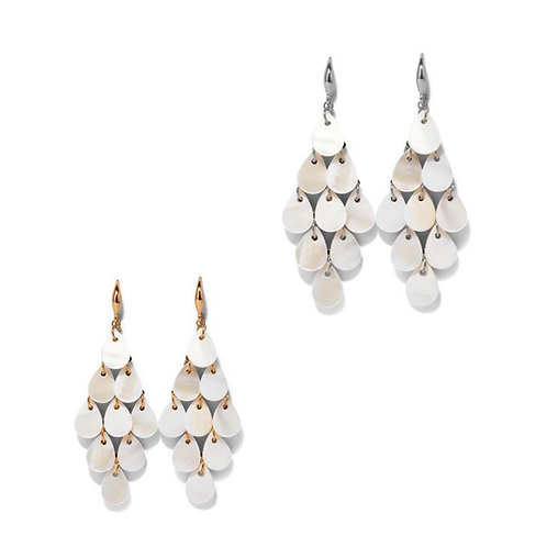Mother of Pearl Teardrop Cascade Earrings