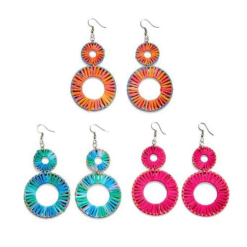 Bright Raffia Round Drop Earrings
