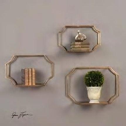 Hudson mirrored wall shelves set3