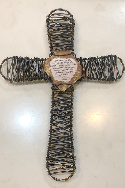 Wire Serenity Prayer Cross