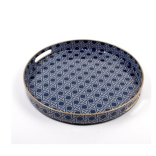 Navy and Gold Round Tray