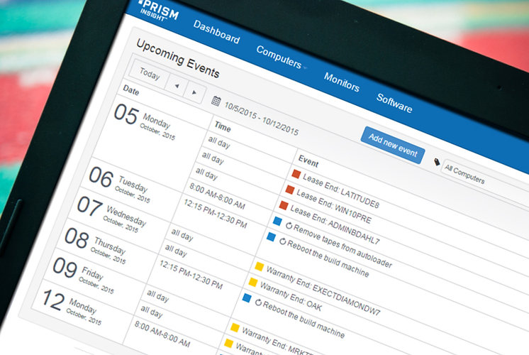 Prism Insight's IT calendar alerts you of upcoming events such as lease and warranty expiration dates