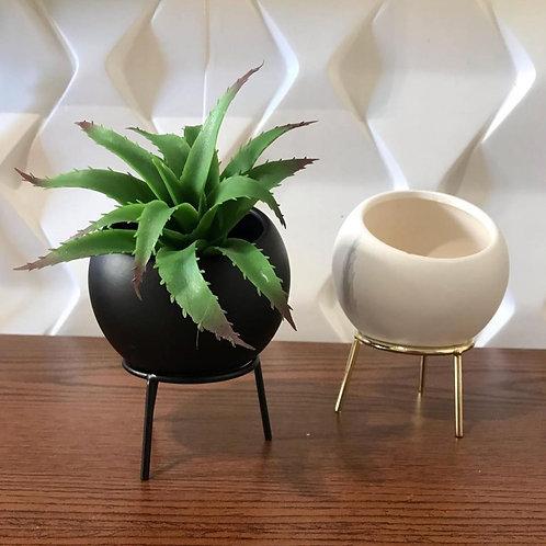 Vaso em Cerâmica com Suporte Metal