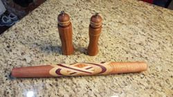 Sapele Maple Purpleheart Rolling Pin, Salt Grinder & Pepper Mill