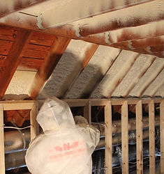 This image shows spray foam insulation being installed in Atlanta GA