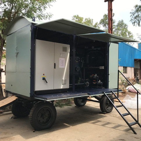 Enclosed in CRCA Canopy mounted on 4-wheeled Trailer