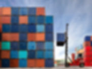 Forklift lifting containers