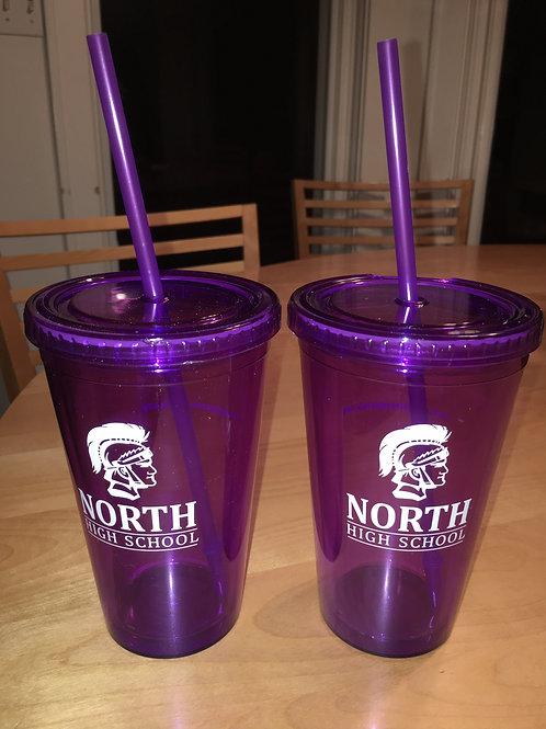 "Purple ""North"" Plastic Tumbler (with lid & straw)"
