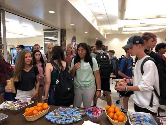 freshman getting snacks