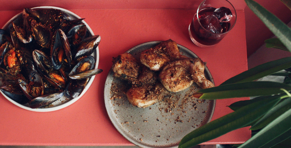 quails, mussels, drinks, Queimado