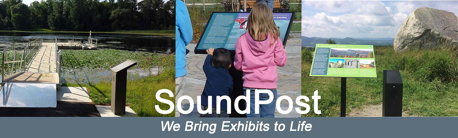 Images of SoundPost audio signs - by a lake, with children listening, at a trail side.