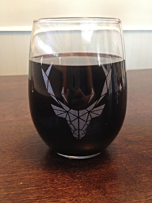 Stemless Deer Wine Glass