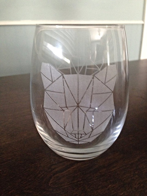 Stemless Bear Wine Glass