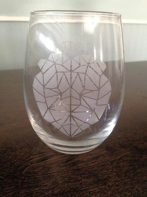Stemless Lion Wine Glass