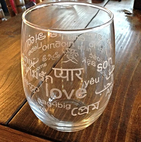 Languages of Love Wine Glass