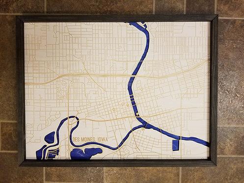 Wooden Des Moines Map