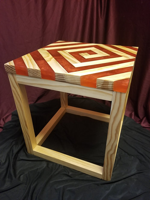 Spiral Wood and Epoxy End Table