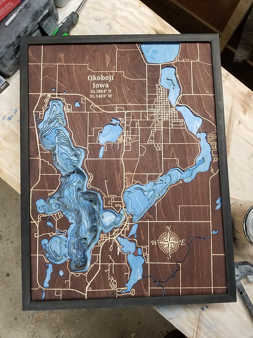 Okoboji Bathymetric Map