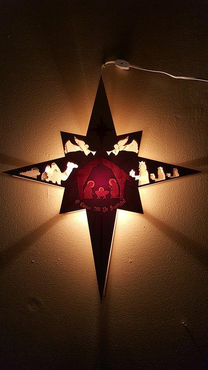 Wooden Nativity Lantern