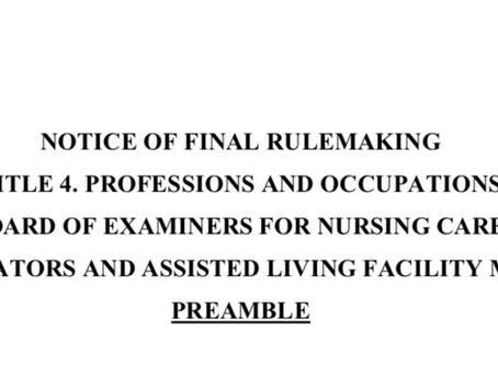 State of AZ amends regulation on Caregiver Training requirements