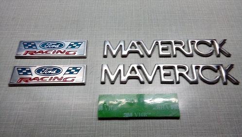 KIT EMBLEMAS MAVERICK - Ford Racing - 5 Peças