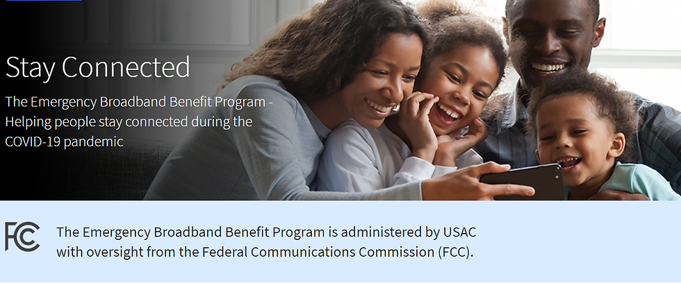A family laughing at something on a cell phone.  Image links to information about the FCC Emergency Broadband Benefit Program.