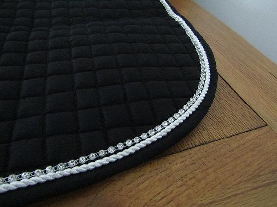 Brillare Diamante Trim Close Contact Saddlepad Black with white