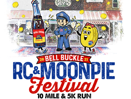 Attend Bell Buckle RC Cola Moon Pie Festival for games, food, music, art, largest Moon Pie