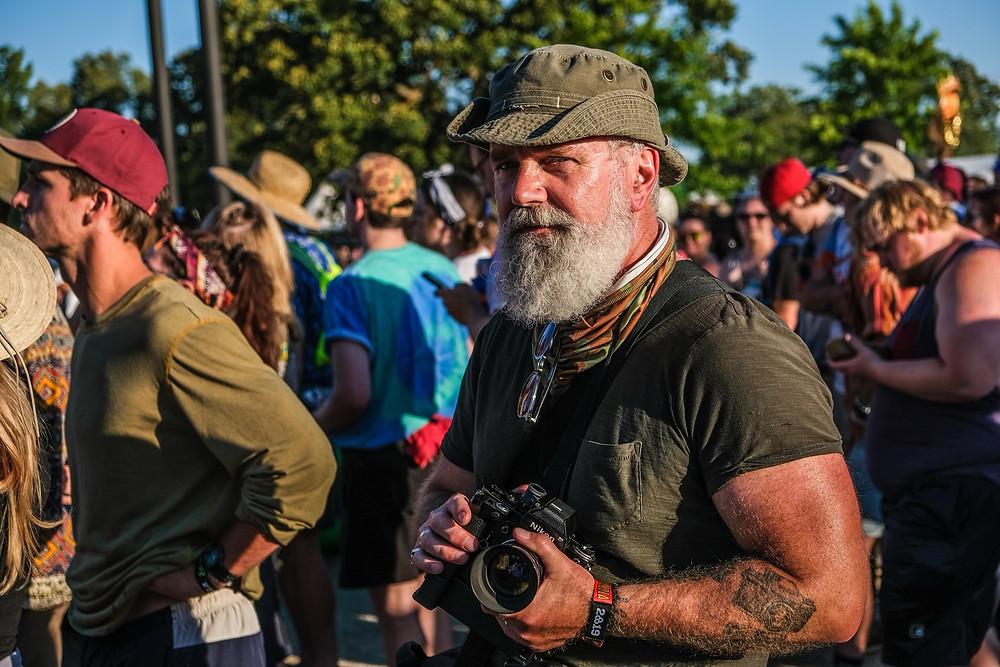 David Bruce shoots at Bonnaroo with is 1969 Nikon 35mm Camera.