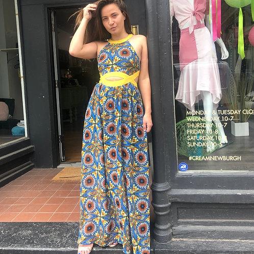 Printed Maxi Dress with Cutouts