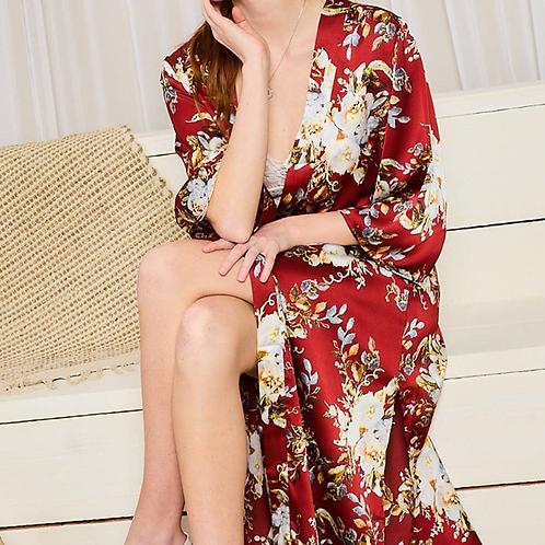 Satin floral kimono