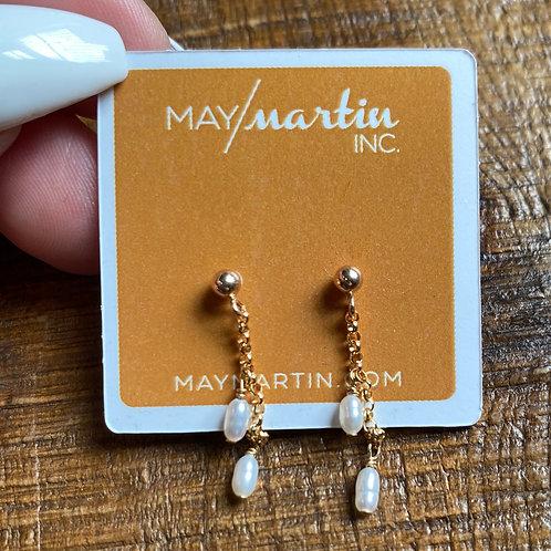 Mini Pearl Chain Earrings