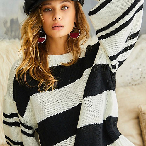 Bubble sleeve oversized sweater