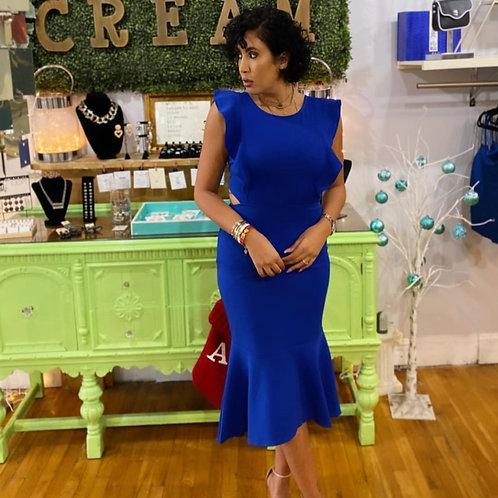 Blue Backless Ruffle Dress