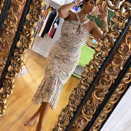 Floral Shirring Dress