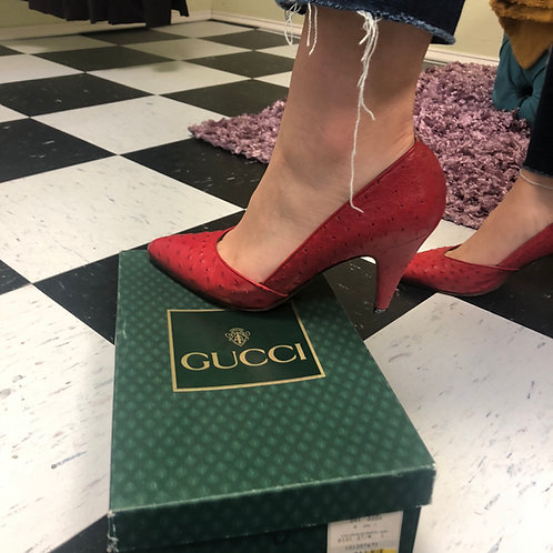 Gucci Ostrich Skin Red Pumps